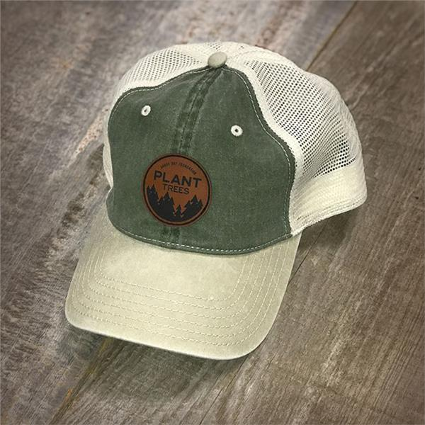 Plant Trees Leather Patch Hat-Olive Khaki